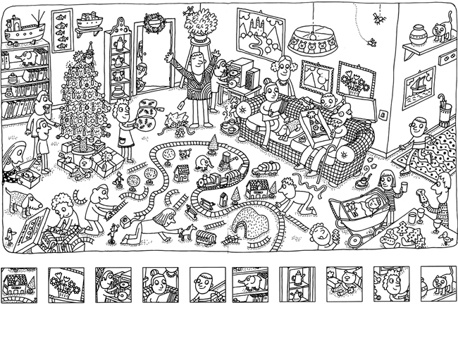 have fun finding the hidden items and coloring this complicated christmas picture